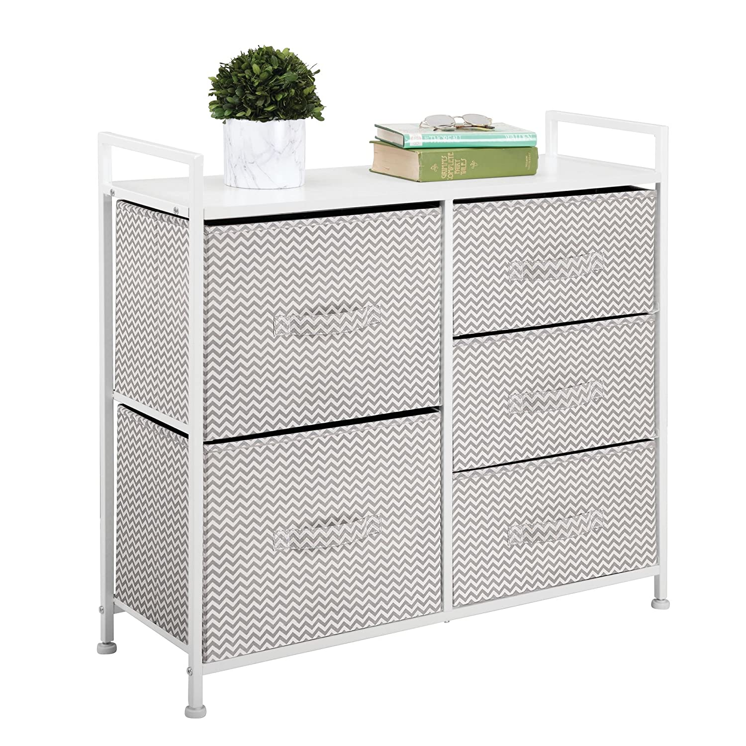 mDesign Vertical Dresser Storage Tower - Sturdy Steel Frame, Wood Top, Easy Pull Fabric Bins - Organizer Unit for Bedroom, Hallway, Entryway, Closets - Chevron Print - 3 Drawers, Mint/White MetroDecor