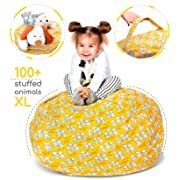 Stuffed Animal Storage Bean Bag - Toy Storage Bag EXTRA LARGE Size 38-inch - Soft Cotton Canvas Plush Toy Organizer - BeanBag Chair for Kids - Great for Covers Plush Toys Towels Clothes