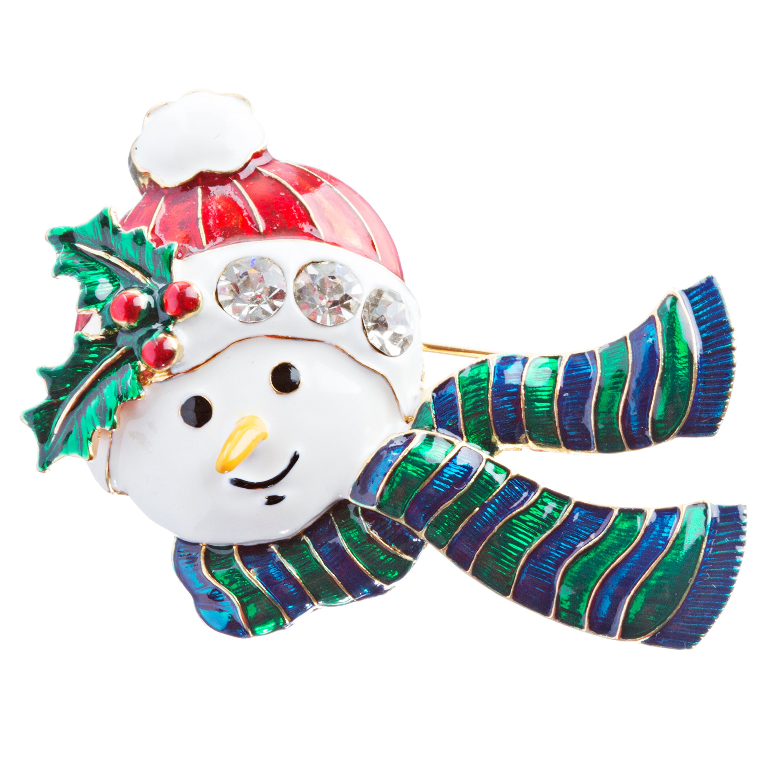 ACCESSORIESFOREVER Christmas Jewelry Crystal Rhinestone Holiday Happy Snowman Brooch Pin BH137