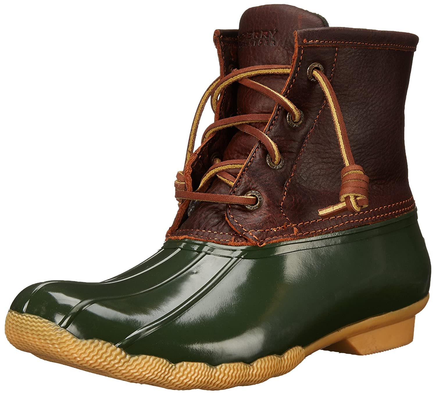 Amazon.com | Sperry Womens Saltwater Tan and Dark Duck Boots 7 B ...