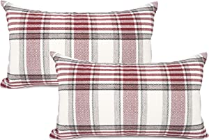 YOUR SMILE Set of 2 Christmas Retro Farmhouse Outdoor/Indoor Buffalo Tartan Chequer Stripe Plaid Cotton Linen Decorative Throw Pillow Case Cushion Cover Pillowcase for Sofa Chair (Red, 12x20inch)