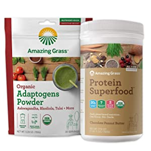 Amazing Grass Protein Superfood & Collagen Booster Bundle - Protein Superfood Powder Chocolate Peanut Butter & Adaptogens Greens Powder Smoothie Booster