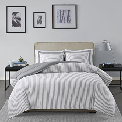 Madison Park Essentials Hayden Reversible Stripes – 3 Piece Teen Set – Ultra Soft Microfiber Bed Comforters, King/Cal King, Grey: Home & Kitchen