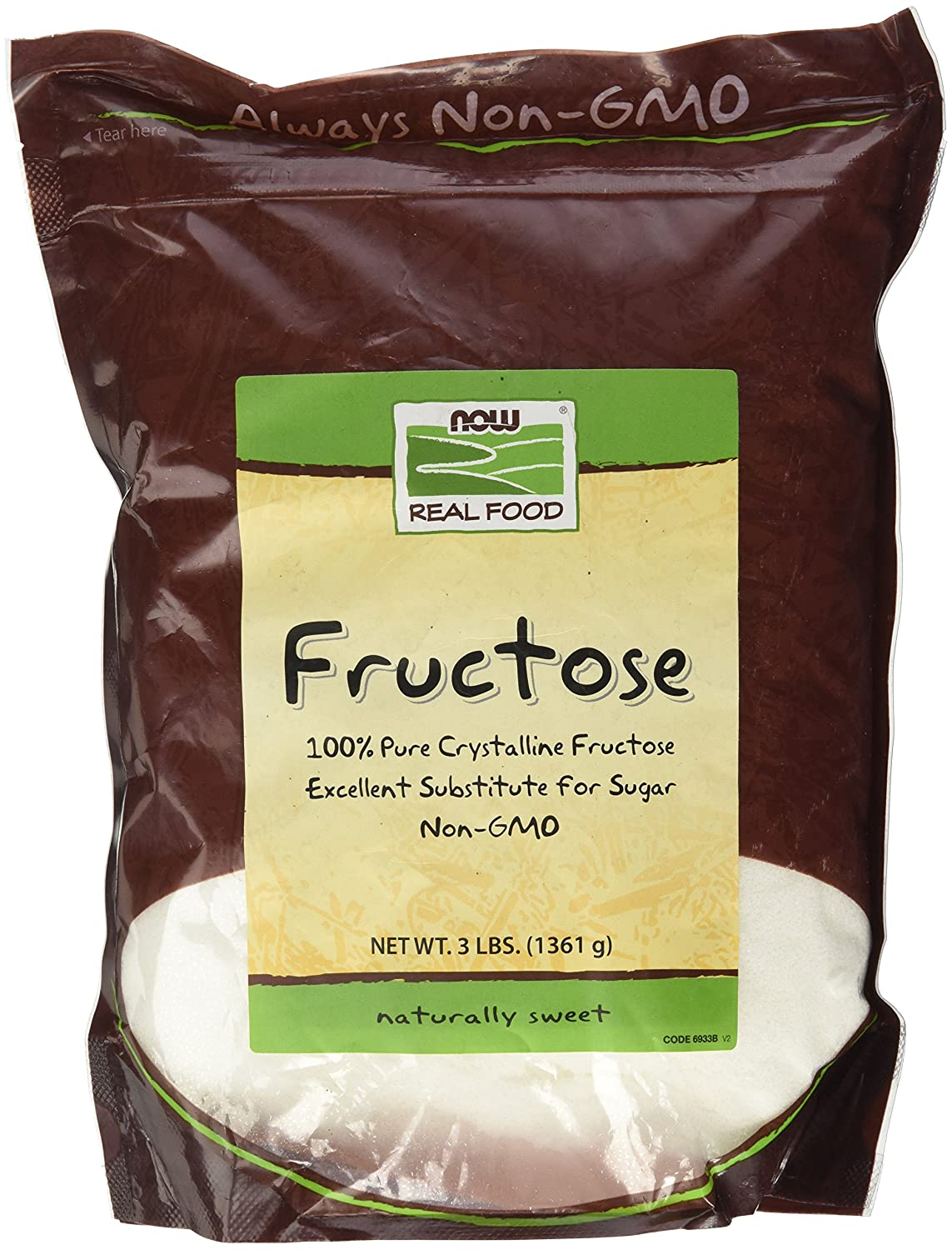 NOW Foods, Fructose, Pure Crystalline Frustose, Excellent Substitute for Sugar, Non-GMO and Kosher, 3-Fructose