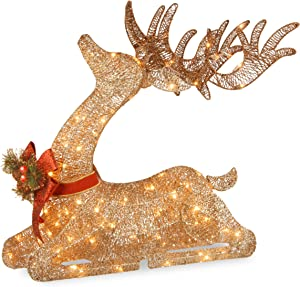 National Tree Company Pre-lit Artificial Christmas Décor | Includes Pre-strung LED Lights and Ground Stakes | Sisal Splendor Champagne Lying Deer - 4 ft