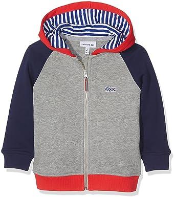 Lacoste SJ2978, Sweat-Shirt de Sport à Capuche Garçon, Multicolore  (Aluminium Chiné 2b2e573f44f2