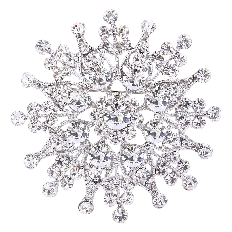 TENYE pour femme Cristal Autrichien Corsage Marié e pé tale de fleur Broche Clair Ton d'argent 13000151-1