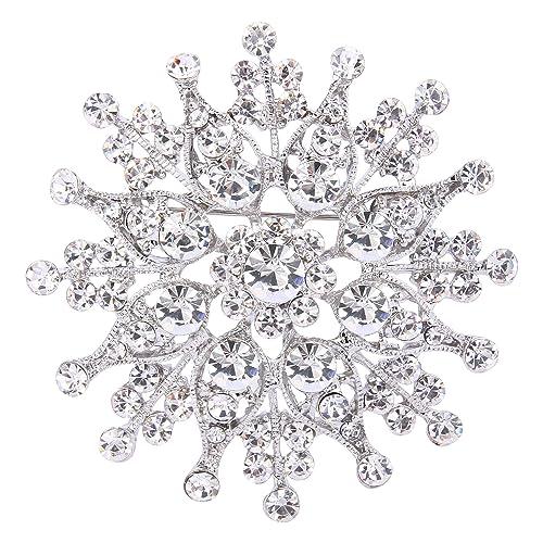 51677ae08620 TENYE mujeres de cristal austriaco de pétalos de novia ramillete broche  claro tono plateado  Amazon.es  Joyería
