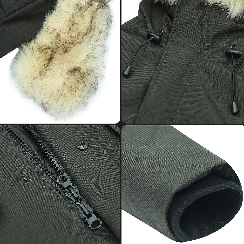 Molemsx Men's Down Alternative Jacket Mountain Thicken Lined Fur Hooded Long Anorak Parka Padded Coat XS-3XL: Clothing