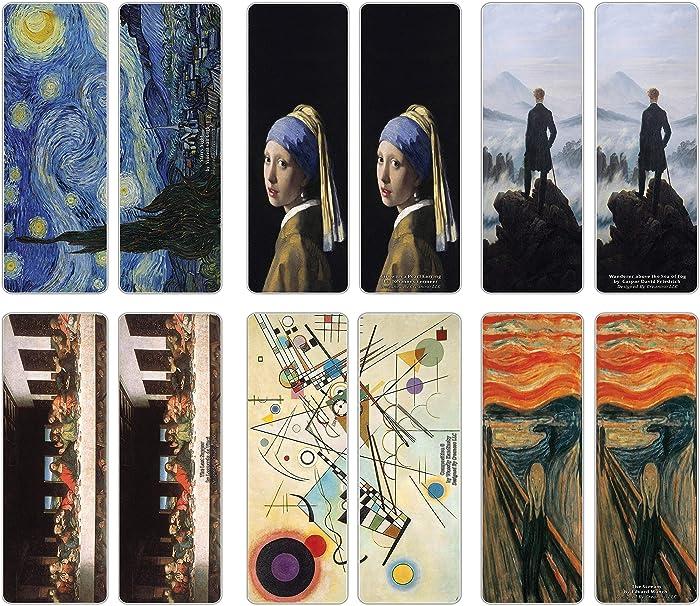 Creanoso Famous Classic Arts Series 2 Bookmarks (60-Pack) - Van Gogh, Leonardo Da Vinci, Edvard Munch, Johannes Vermeer, Caspar David Friedrich, Wassily Kandinsky – Wall Decor Art Bookmarkers