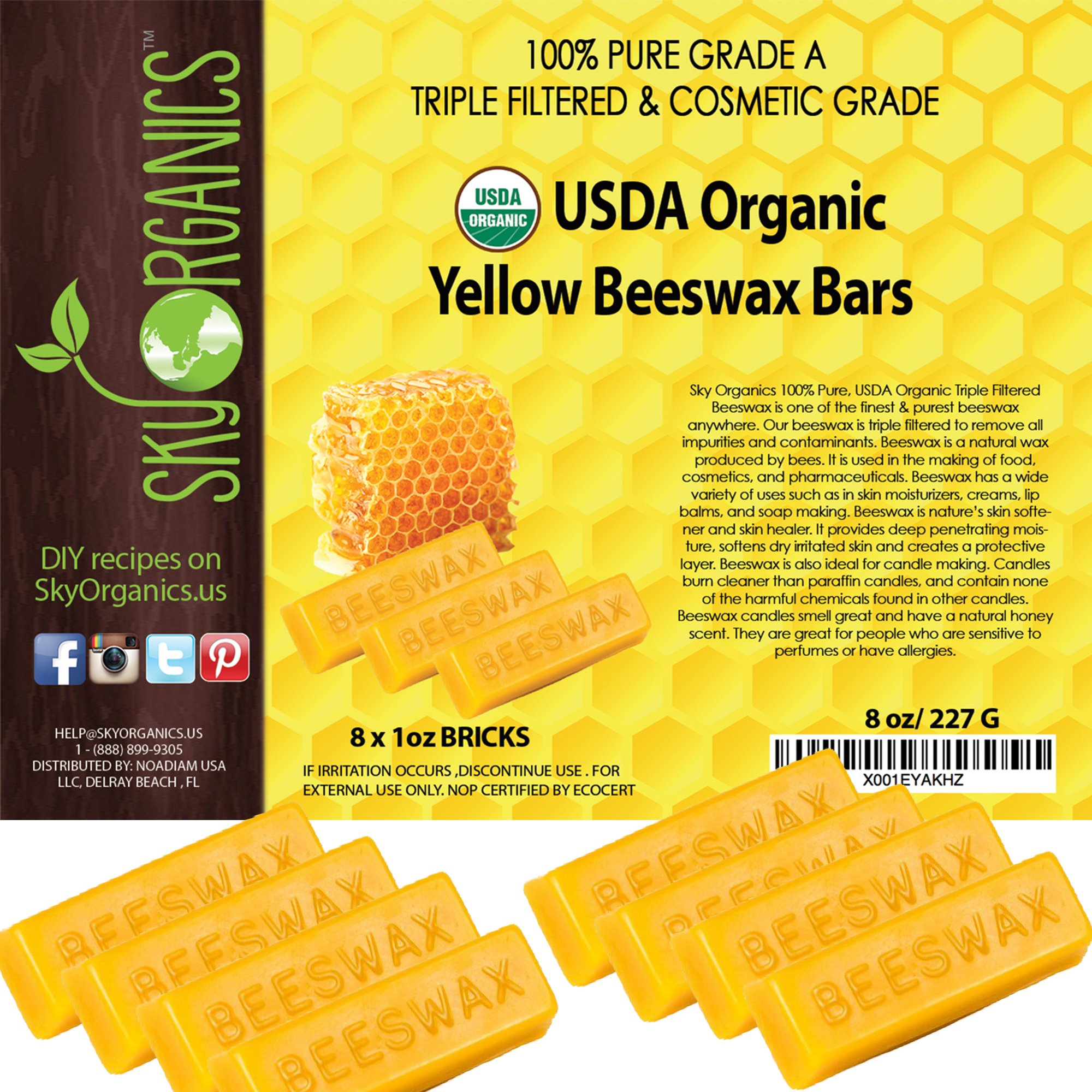 Sky Organics USDA Organic Yellow Beeswax Bars by (8x1oz) -Superior Quality Pure Bees Wax No Toxic Pesticides or Chemicals - 3 x Filtered, Easy Melt Bricks - For DIY, Candles, Skin Care, Lip Balm