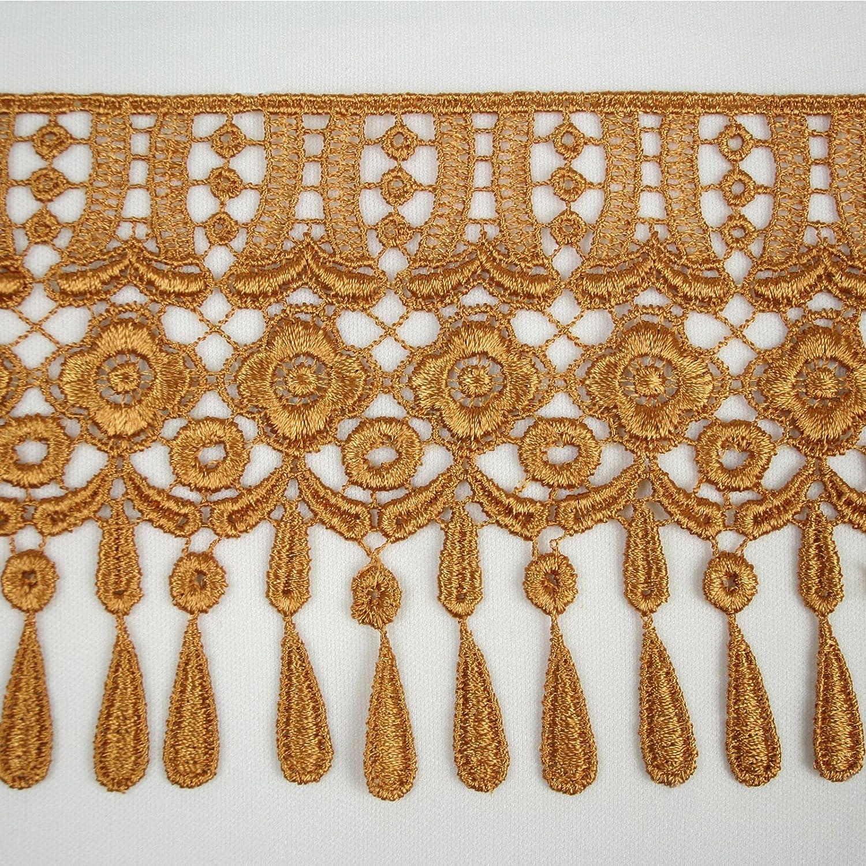 Gold Altotux 4 12 Colors Teardrop Fringe Venice Floral Lace Trim Guipure By Yard