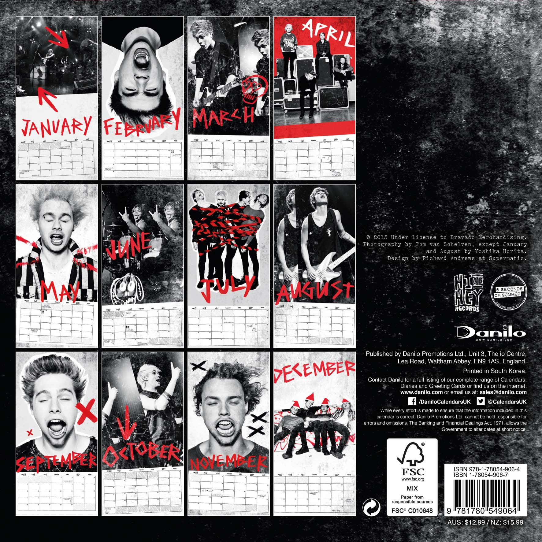 The Official 5 Seconds Of Summer 2016 Mini Calendar 9781780549064