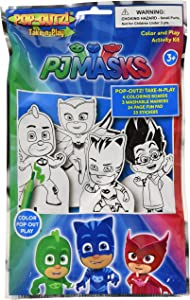 PJ Masks Take N Play Foil Bag 4 Coloring Boards 3 Markers and 25 Stickers