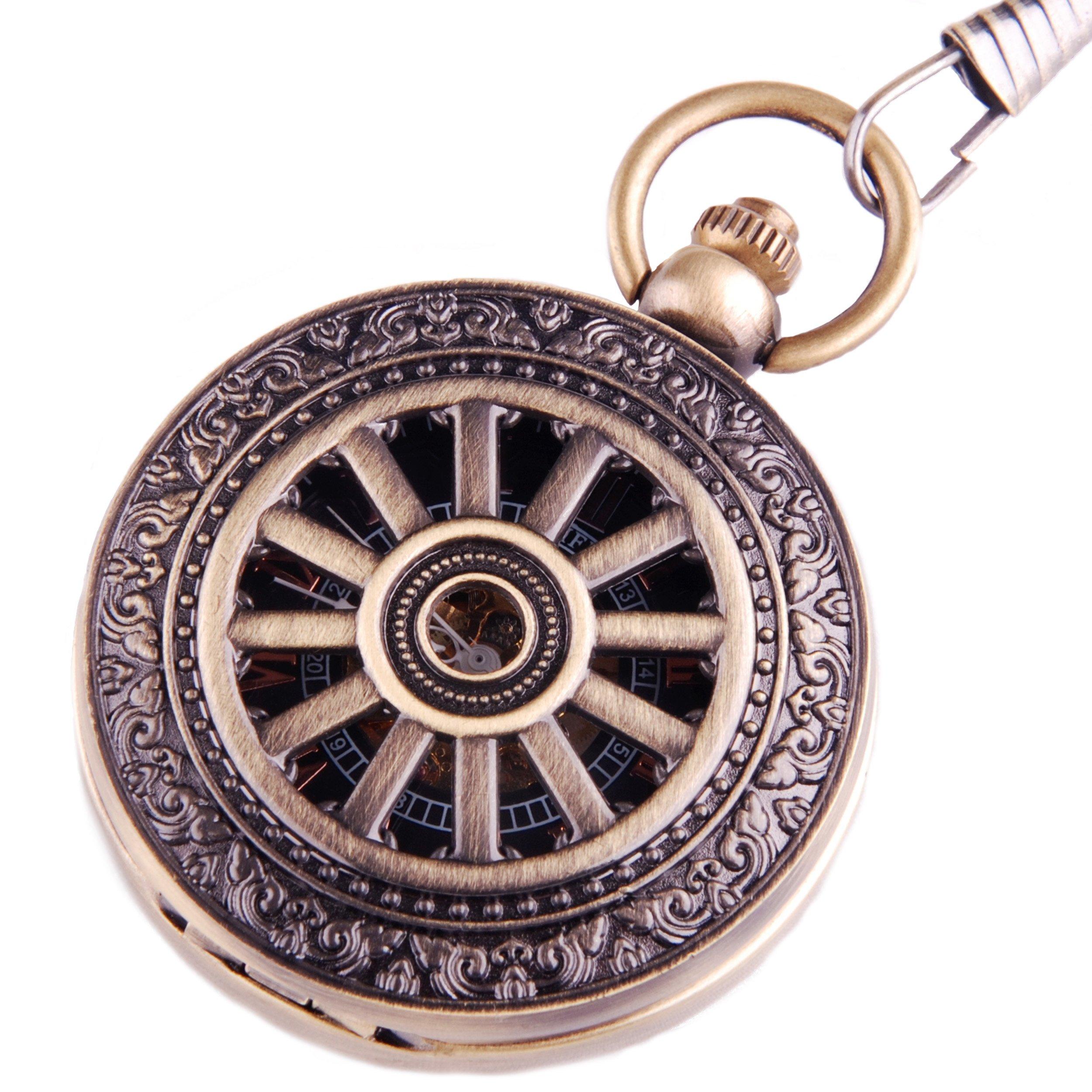 CDM product Pocket Watch Classic Skeleton Mechanical Movement Hand Wind Roman Numeral Wheel Motif Half Hunter PW-68 big image