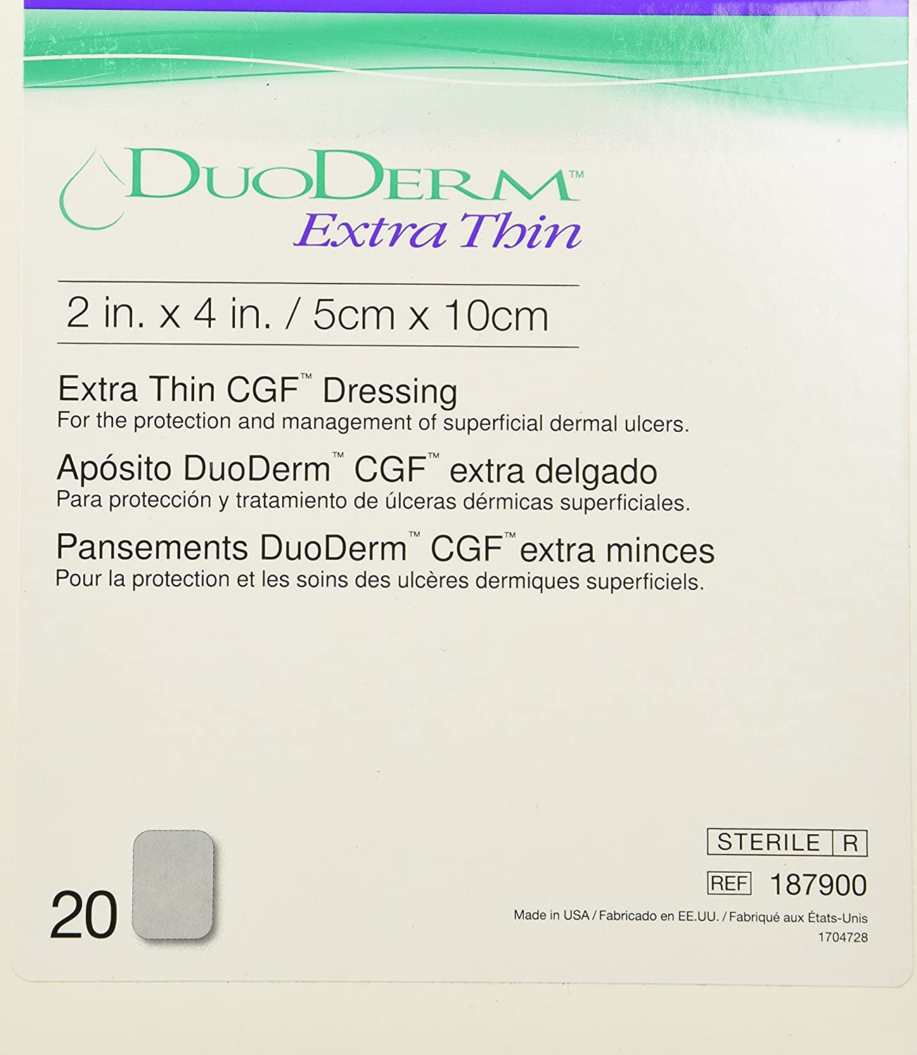 DUODERM CGF EXTRATHIN STERILE Dressing 2 x 4 20EACH/Box.