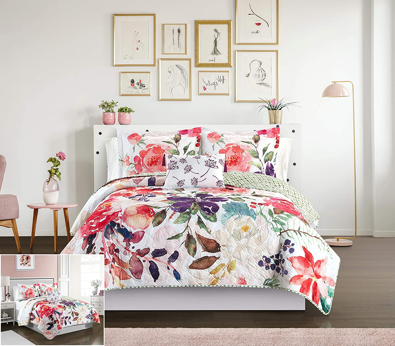 Chic Home Retsina 4 Piece Reversible Quilt Set Floral Watercolor Design Bedding - Decorative Pillow Shams Included, King, Multi Color