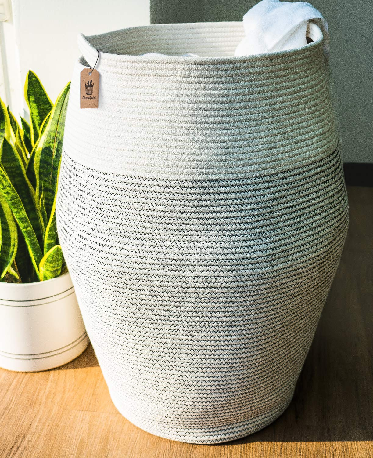 Goodpick Laundry Hamper | Woven Cotton Rope Dirty Clothes Hamper Tall Kids Curver Laundry Basket Large, 25.6'' Height by Goodpick