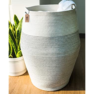 Goodpick Laundry Hamper | Woven Cotton Rope Dirty Clothes Hamper Tall Kids Curver Laundry Basket Large, 25.6  Height