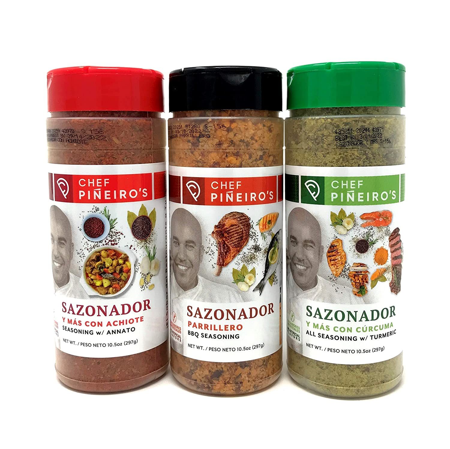 Chef Piñeiro's Classic Seasonings 3 Flavor Set From Puerto Rico, Annatto, BBQ, and Turmeric, 10.5 Ounce (Pack of 3)