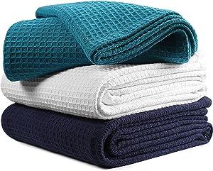 Waffle Weave King Blanket 102x90 inch-Teal,King Cotton Blanket,Teal King Blanket,Breathable Blanket,Farmhouse Throw Blanket,Textured Throw Blanket,Throw Blanket,All Season Cotton Blanket