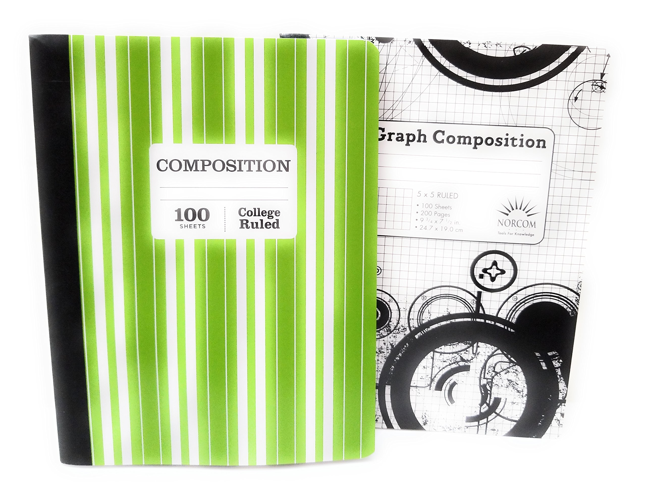 Green and White Striped Notebook & 5 x 5 Graph Notebook - Pack of 2