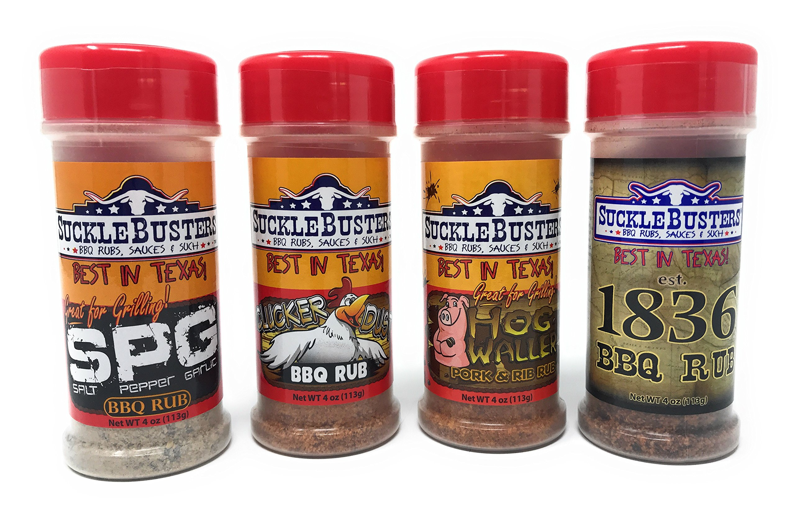 SuckleBusters BBQ Rub Variety Pack - Beef, Pork, Chicken and All Purpose Seasonings (4 Pack/4 Ounce Each)