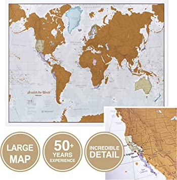 Mapas International Scratch The World - Mapa de Viaje, 22 x 17 ...