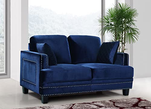 Meridian Furniture Ferrara Velvet Upholstered Loveseat with Square Arms, Silver Nailhead Trim, and Custom Solid Wood Legs, Navy