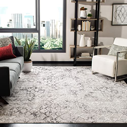 Safavieh Amelia Collection ALA783F Modern Trellis Distressed Non-Shedding Stain Resistant Living Room Bedroom Area Rug