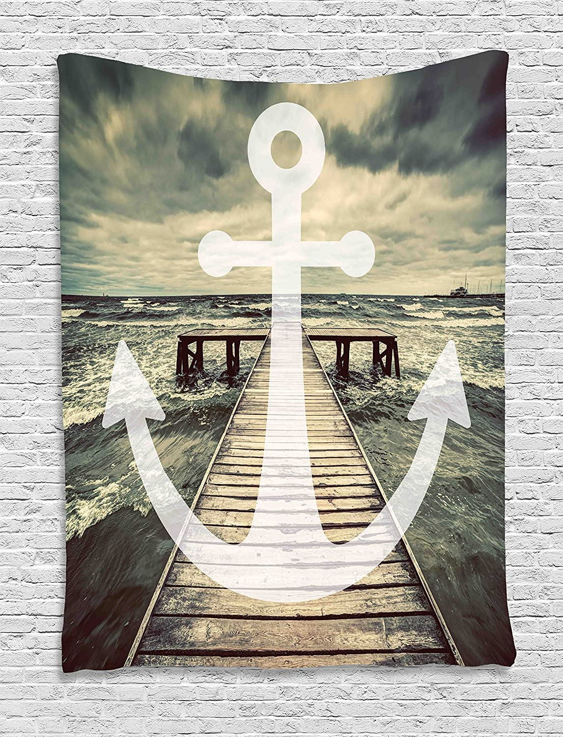 Ambesonne Nautical Tapestry, Anchor Print in Ocean Waves with Long Wooden Pier Cloudy Sky 3D Effect Print, Wall Hanging for Bedroom Living Room Dorm Decor, 40