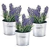 MyGift 15,2 centímetros de decoración de Plantas de Lavanda Artificial, Flores de imitación con Maceta de Metal, Juego de 3