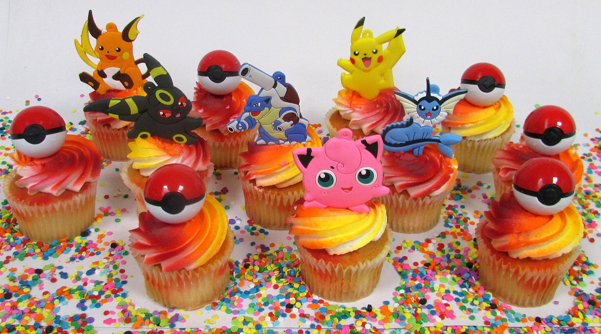 Pikachu and Friends Cupcake Topper Set with 6 Random Pocketmonster Characters and 6 Poke Balls by Cupcake Topper (Image #8)