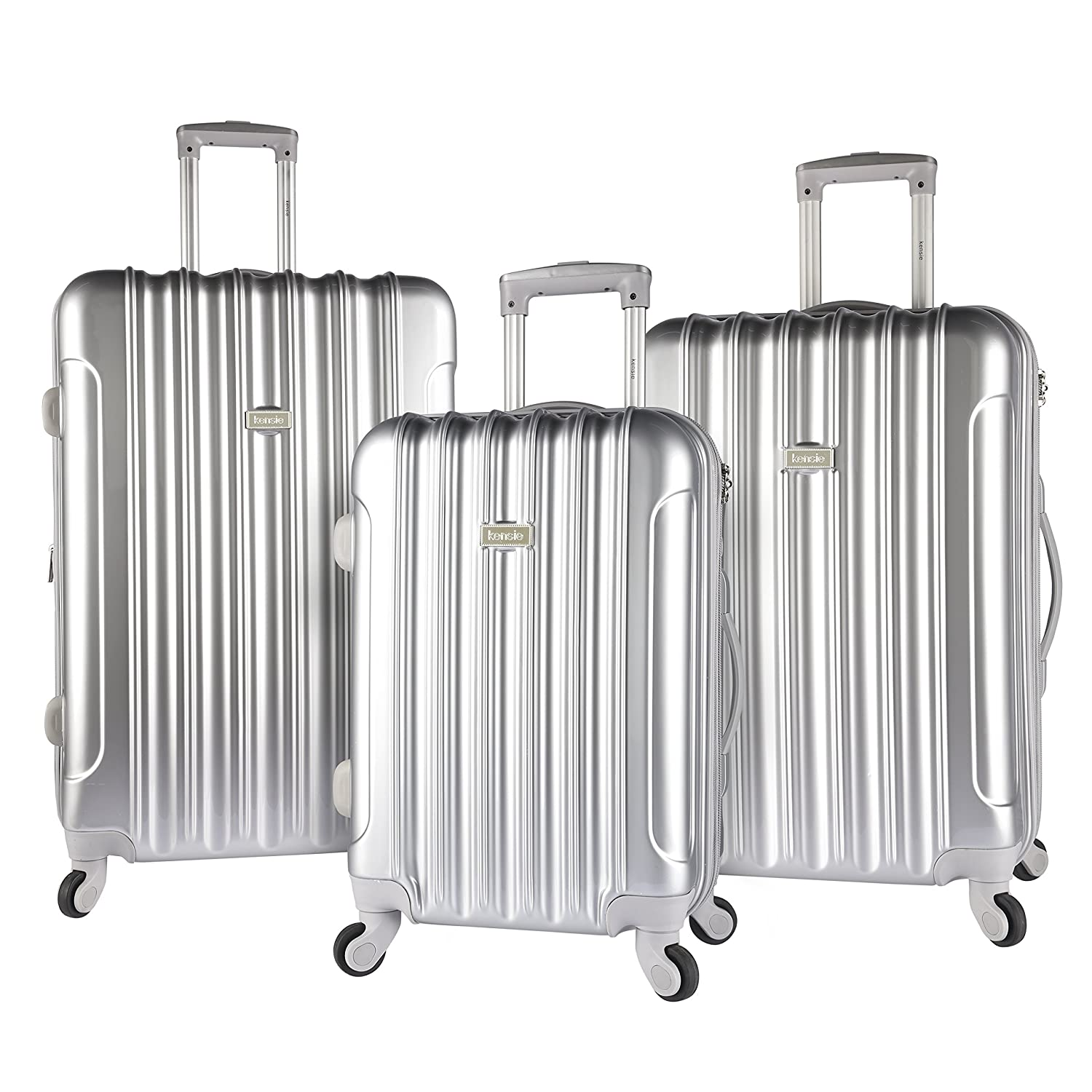 kensie 3 Piece Light Metallic Design 4-Wheel Luggage Set Silver Color Option Travelers Club Luggage KN-67903-SV