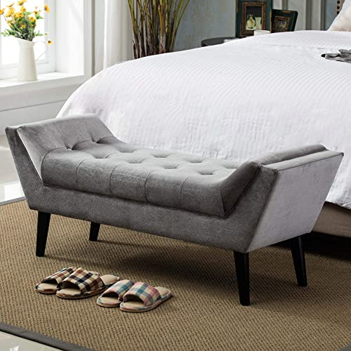 Andeworld Gray Fabric Bed Bench Upholstered Tufted Footstool Entryway Ottoman Bench Two Seater