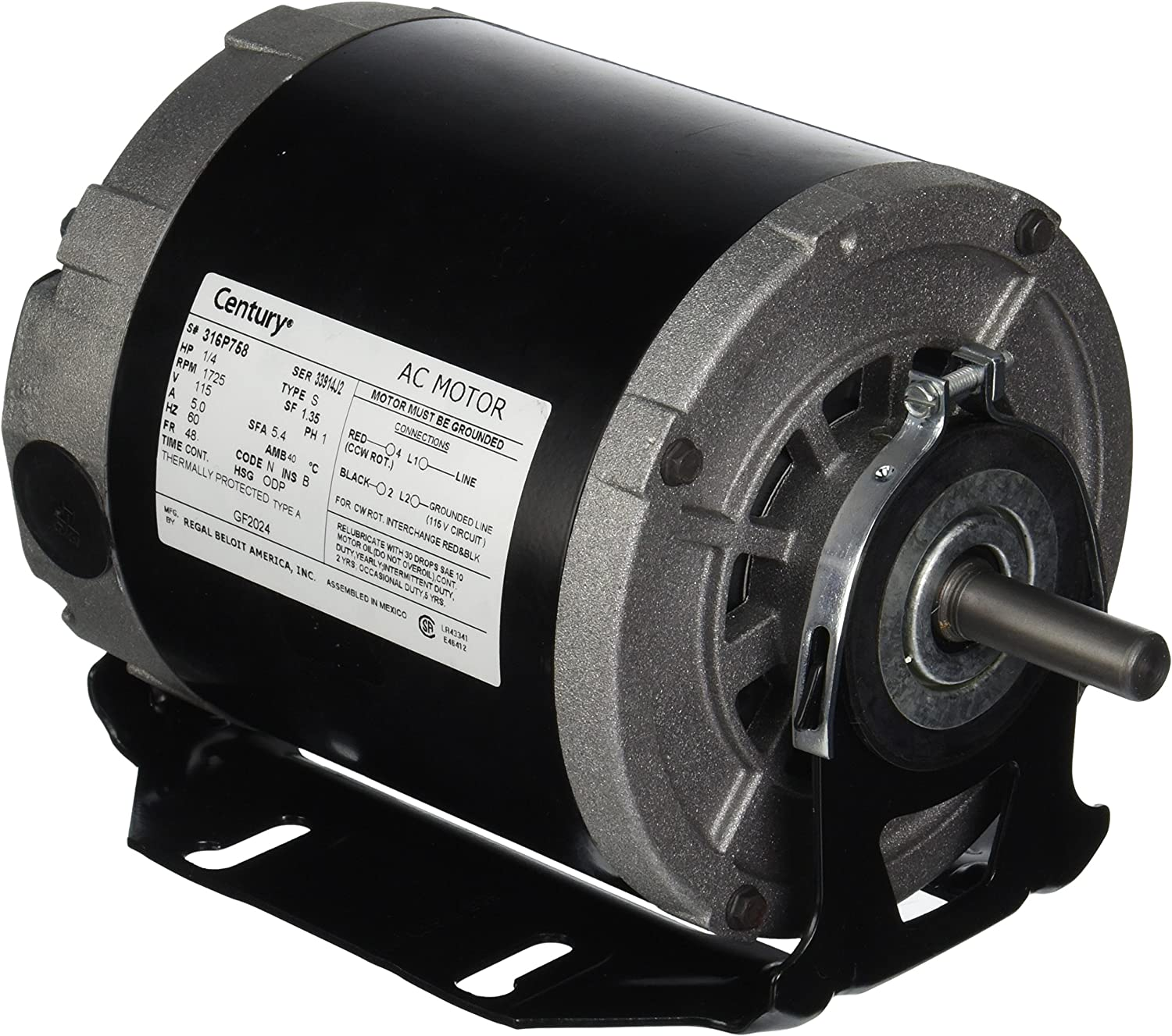 A.O. Smith GF2024 Century Resilient Base Split Phase Electric Motor, 115 Vac, 5.4 A, 1/4 Hp, 1725 Rpm - Electric Fan Motors -
