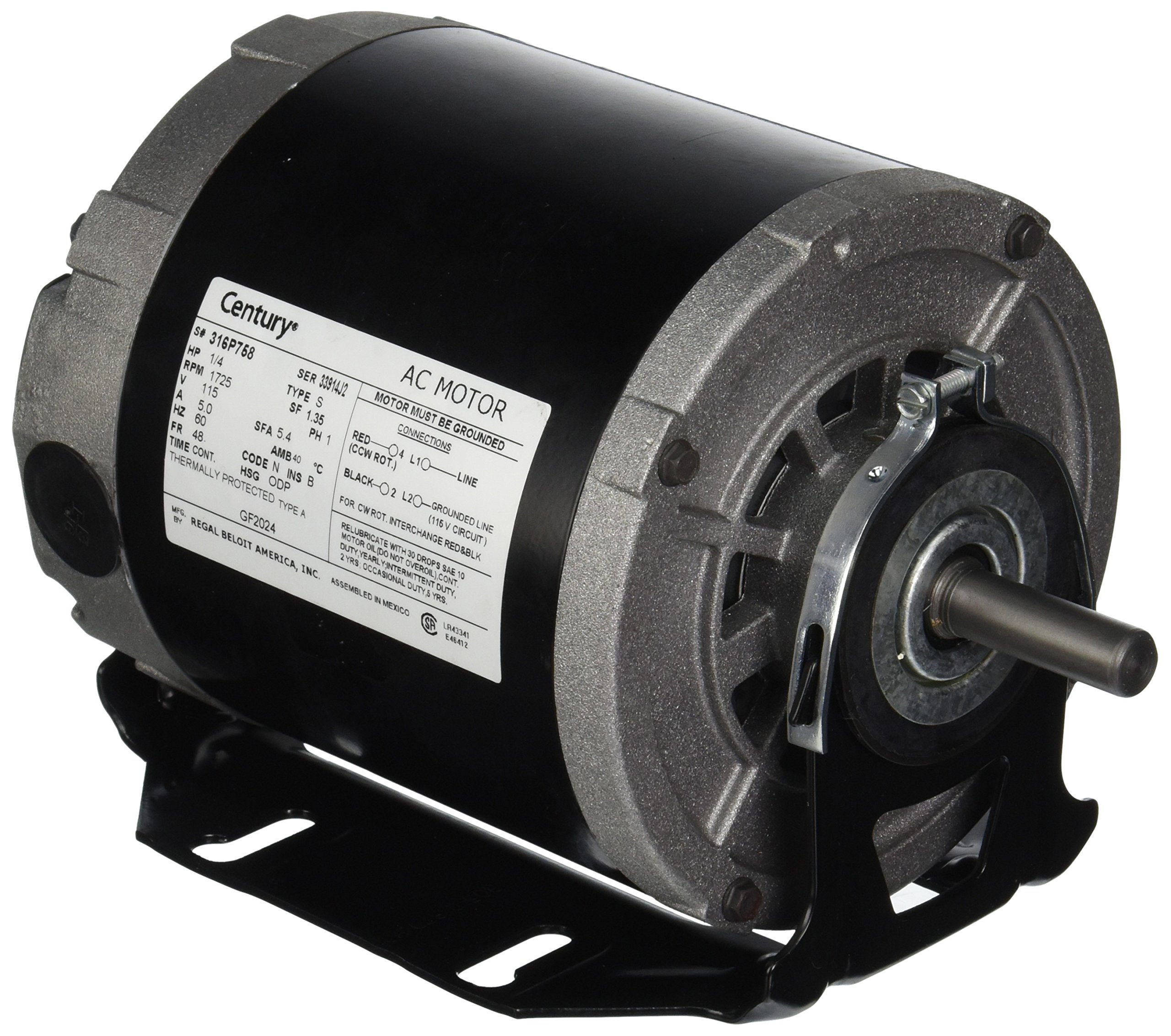 A.O. Smith GF2024 1/4 hp, 1725 RPM, 115 volts, 48/56 Frame, ODP, Sleeve Bearing Belt Drive Blower Motor