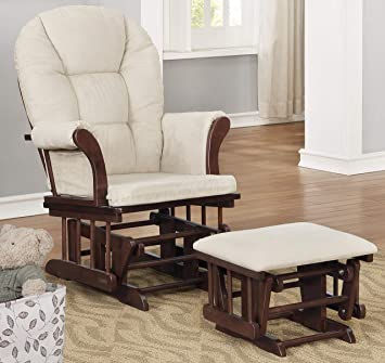 Espresso with Beige Lennox Furniture Charlotte Glider Chair and Ottoman Combo