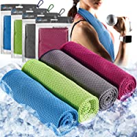 """QIK-LABS [4 Pack] Cooling Towel (40""""x12""""), Ice Towel, Soft Breathable Chilly Towel, Microfiber Towel for Yoga, Sport…"""