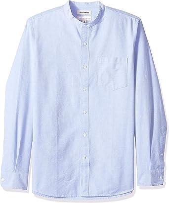 Marca Amazon - Goodthreads – Camisa Oxford de manga larga con cuello en banda de corte estándar para hombre: Amazon.es: Ropa y accesorios