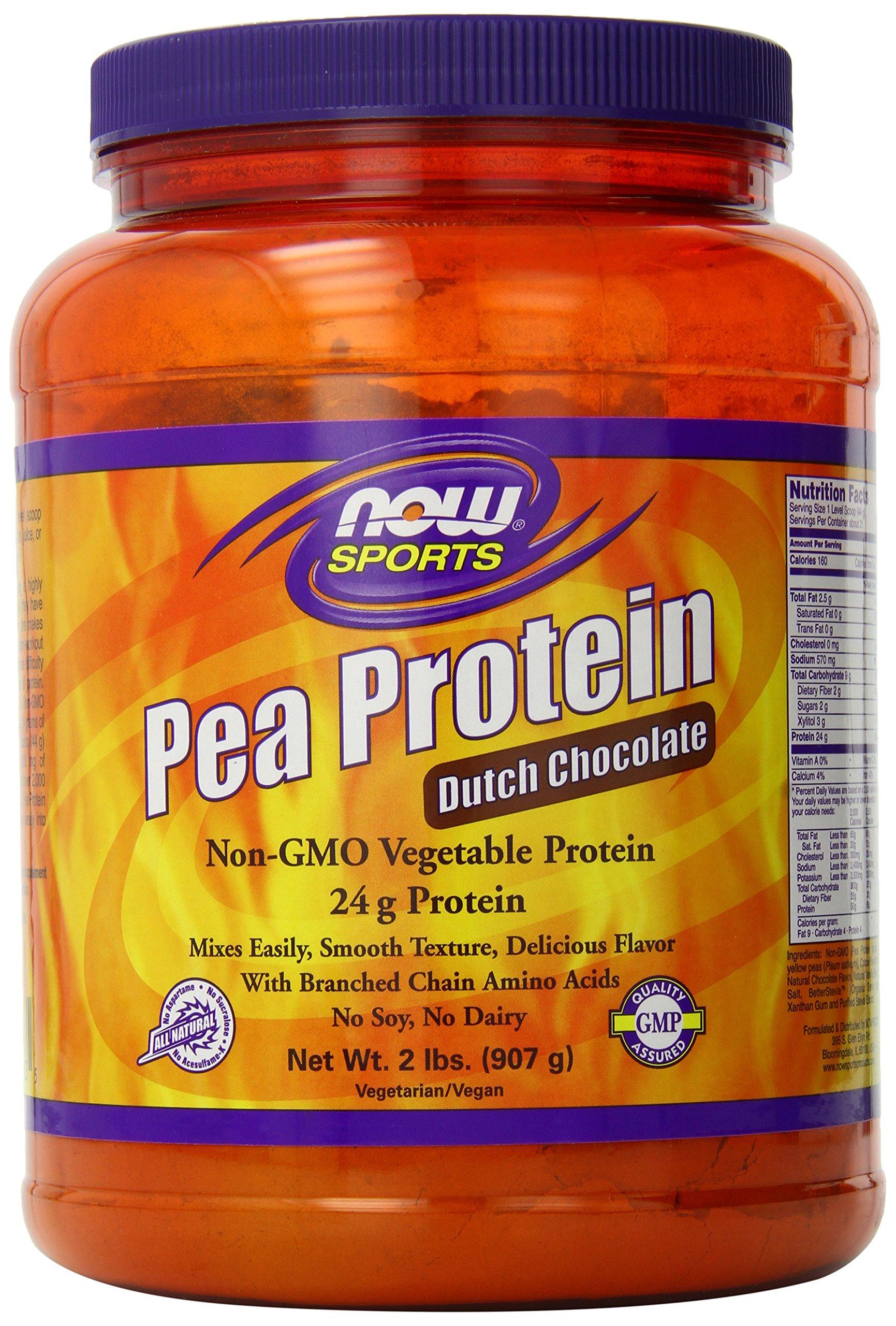 NOW Sports Pea Protein Dutch Chocolate Powder, 2-Pounds