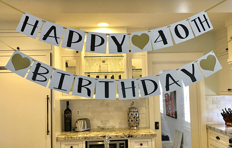 Amazon.com: Happy 40th Birthday Banner - Gold Hearts and Ribbon ...