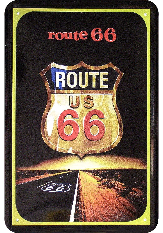 US Cars Route 66 Escudo diseño Cartel de Chapa: Amazon.es ...