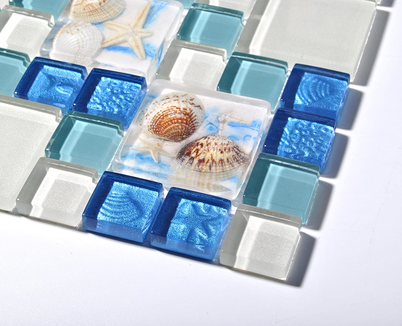 TST Mosaic Tiles Glass Conch Tiles Beach Style Sea Blue Green Glass ...
