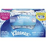 Kleenex Wet Wipes Gentle Clean for Hands and Face, Flip-top Pack, 56 Wipes (2 Packs, 112 Total Wipes)
