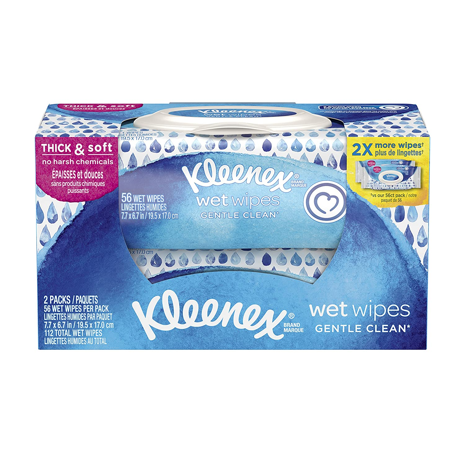 Kleenex Wet Wipes Gentle Clean for Hands and Face, Flip-top Pack, 56 Wipes  (2 Packs, 112 Total Wipes): Amazon.ca: Health & Personal Care