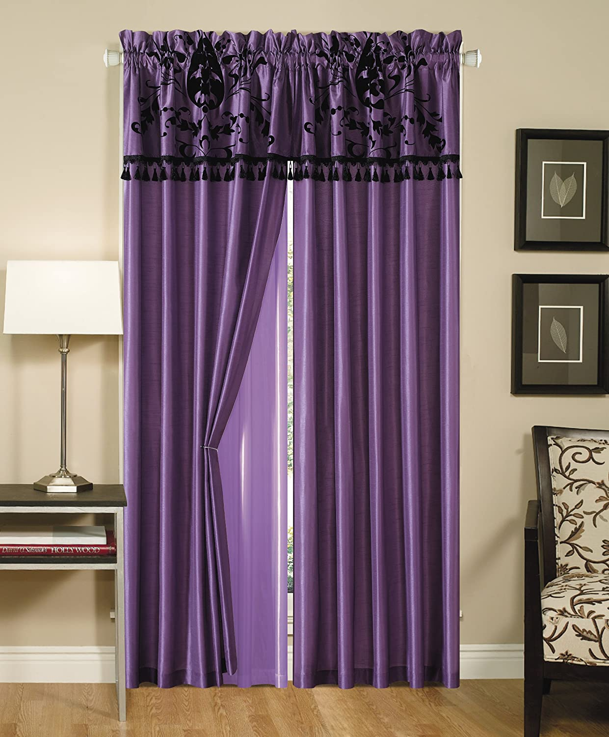 2-Panel Floral Flocking Window Curtain/Drape Set, Purple and Black
