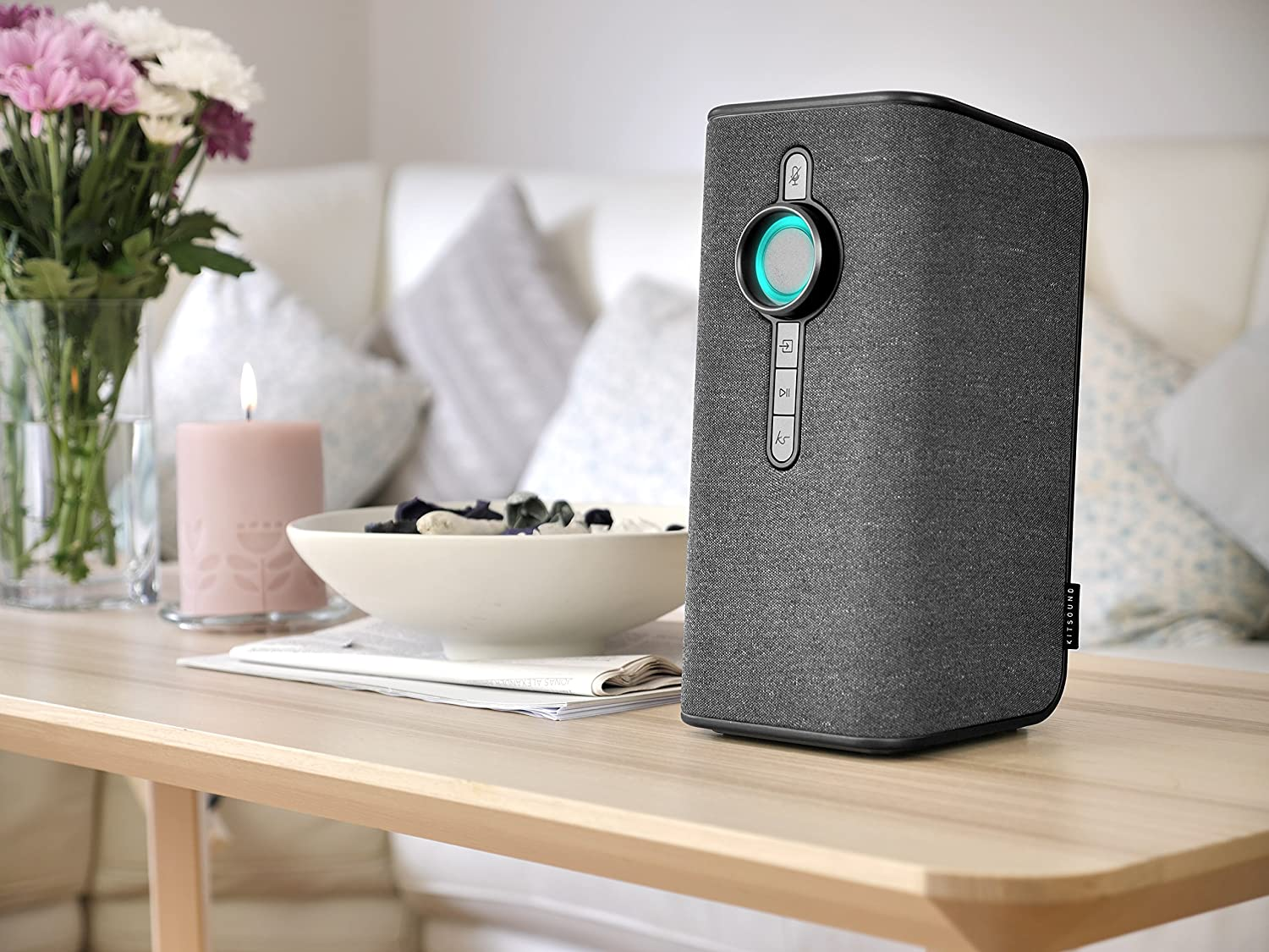 KitSound Voice One with Alexa Built-In and Spotify Voice Control Multi-Room Smart Speaker Grey