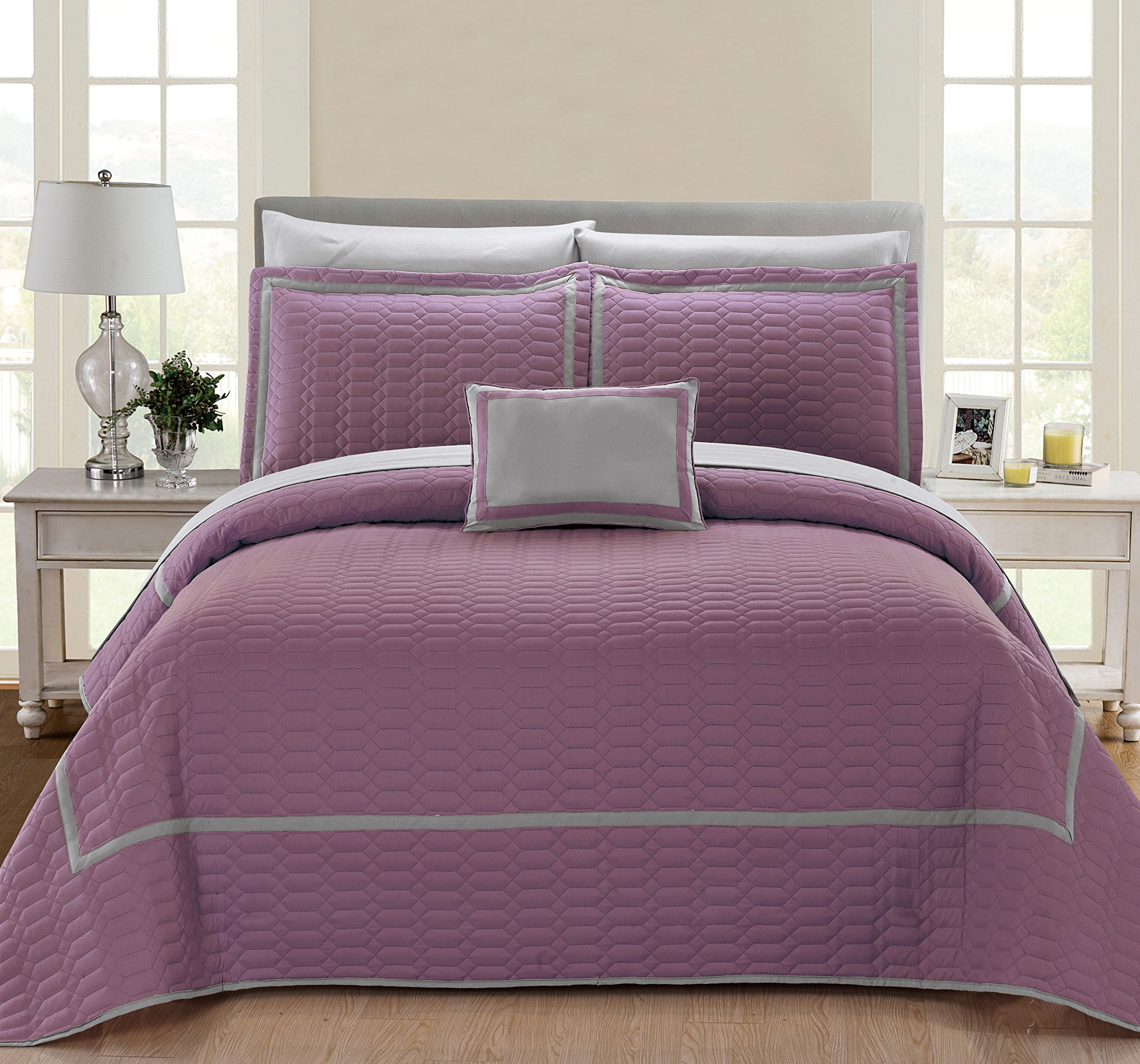 Chic Home Xavier 8 Piece Quilt Cover Set Hotel Collection Two Tone Banded Geometric Quilted Bed in a Bag Bedding - Sheets Decorative Pillow Shams Included, Queen Plum