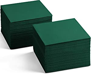 Linen-Feel Colored Cocktail Napkins - Decortive Cloth-Like GREEN Dessert And Beverage Napkins - Soft And Absorbent. For Restaurant, Bar, Cafe, Or Event. (Pack of 200)